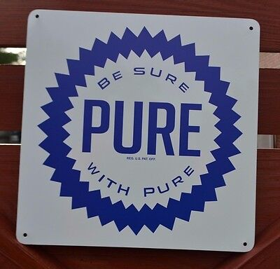 PURE Gas Station Pump Sign Union Comapany Oil Ohio Advertising logo Service