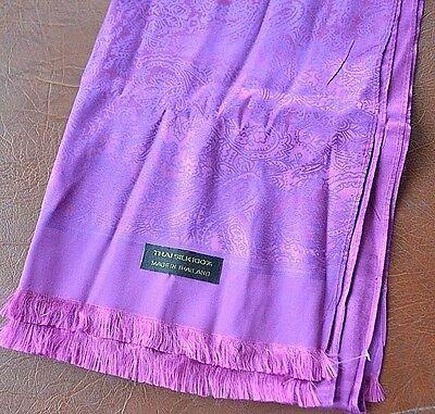 Huge Thai violet mauve 100% silk scarf foulard with paisley print Made Thailand