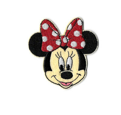 Minnie Mouse  - Cartoon - Red & White Bow - Embroidered Iron On Patch B Minnie Mouse Cartoons