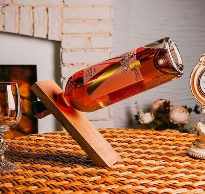 Gravity Defying Wine Bottle Stand Free Standing Rack Balancing Pine Wood Holder