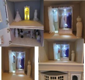 Dolls House 5 Storey Furnished Bridal Shop Court Yard Basement 12th Scale