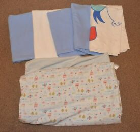 5 cotton cot sheets and blanket