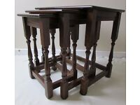 Nest of 3 oak wood tables coffee tables occasional table carved Vintage