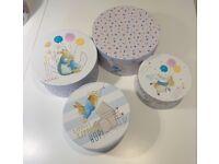 Beautiful children's set of 'Beatrix Potter Peter Rabbit' nesting storage boxes.