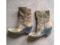 Nine West suede wedge ankle boots size UK 6