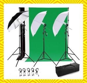 Photo Video Studio Lighting Kit with 3 Umbrella & 3 Backdrop stand Muslin - Free shipping Across Canada