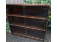 Vintage book case shelf sliding glass doors display cabinet