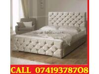 Brand New Chesterfiled Single Double And King Size Crush Velvet Divan Bed