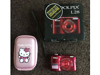 Nikon Coolpix L28 camera in red , 20.1 megapixel, 5x optical zoom, boxed, excellent condition