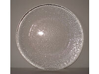 Heavy Clear Glass Serving Dish; Almost Flat; 24cms Diameter; 1cms Thickness