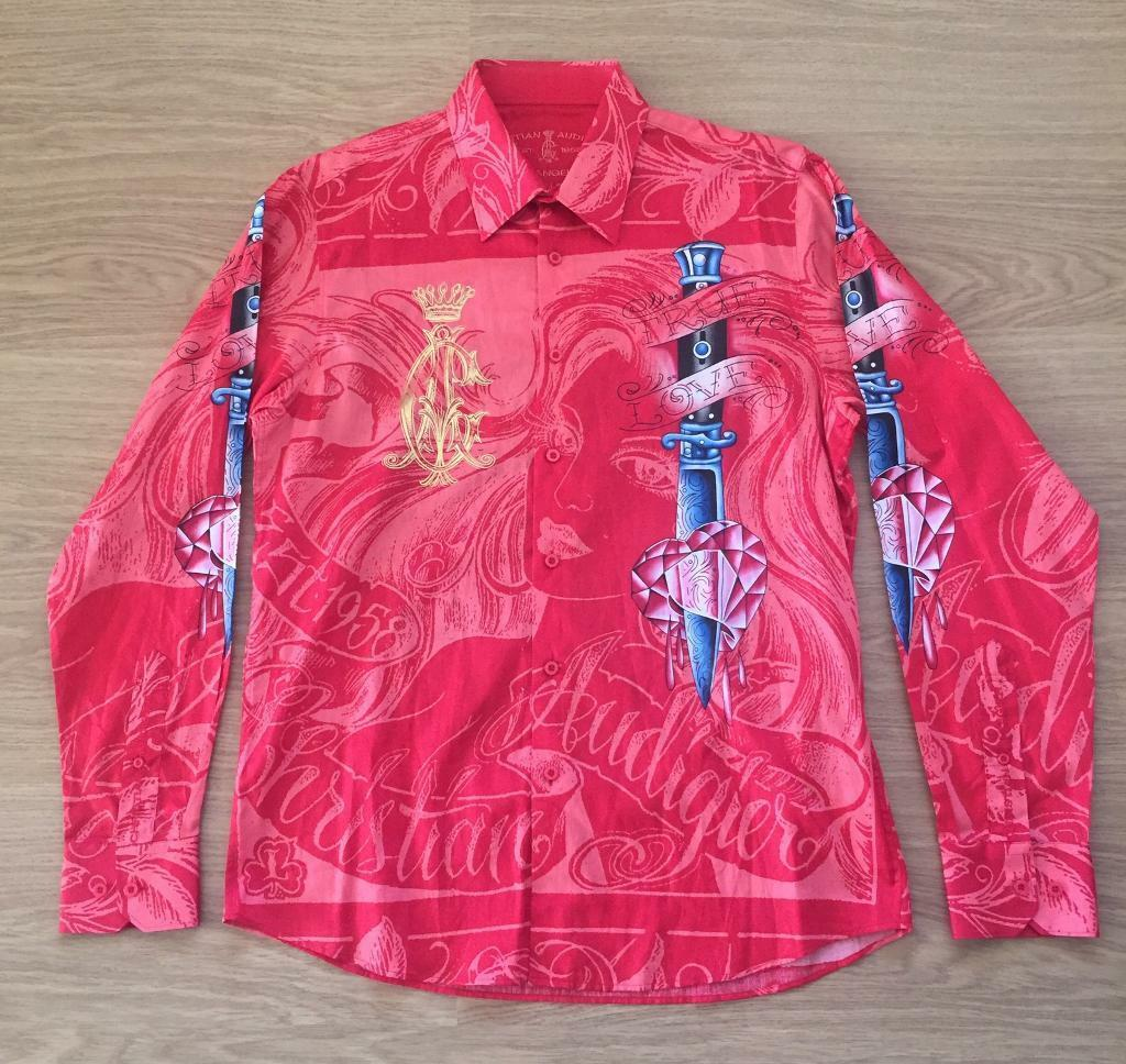"Brand new Christian Audigier medium men's red ""Sword"" shirt. Decorated in rhinestones"