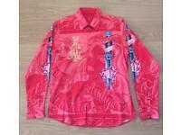 "Brand new Christian Audigier medium men's red ""Sword"" shirt. Decorated in rhinestones"