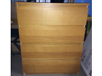 IKEA Malm Oak Veneer chest of 4 drawers in good condition