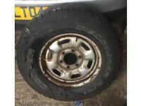 wanted set of 4, 6 stud jap steel wheels and tyres isuzu nissan toyota mitsubishi etc