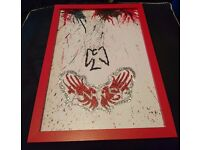 Angel TV Crayon & Glitter Art Picture in Red Frame