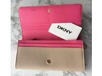 *HOT ITEM* DKNY Large Flap Over Saffiano Leather Carryall Wallet/Purse (Nude/Pink)