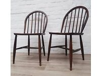 Pair Of Vintage Ercol Dining Chairs (DELIVERY AVAILABLE)