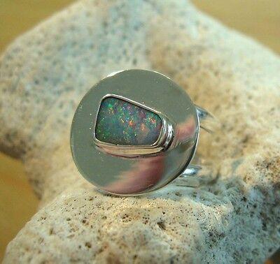 Opal Ring Silber 925 Größe flexibel Doppelband Spirale Designerring neu wow R38 (Doppel-band Silber Ring)
