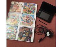 Nintendo 3ds xl, red, charger and 6 games