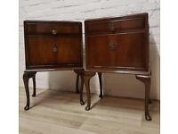 Pair Of Queen Anne Bedside Cabinets (DELIVERY AVAILABLE)