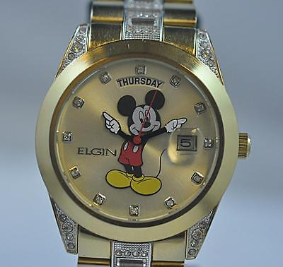 New Mens Elgin Disney Mickey Mouse MCK209 Day Date Gold Tone Bracelet Watch Day Mens Gold Tone Watch