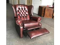 Ox blood Chesterfield RECLINER Wingback chair CAN DELIVER