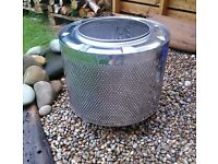 washing machine drum upcycled fire pit, barbecue, patio heater, camping or beach, or planter