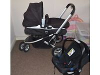Mothercare Xpedior Pram and Pushchair Travel System – Black