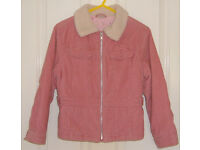 Girls Ladybird Pink Needlecord Coat, size 7-8 years