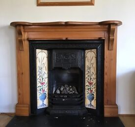 Victorian Style Tiled Fireplace with Wooden Surround - Suitable for open fire or gas insert