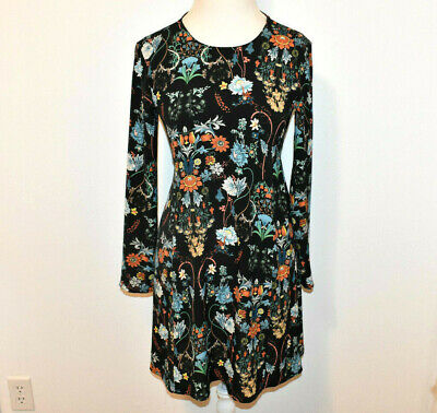ZARA Women's Small Floral Black Long Sleeve A-Line Fit Flare