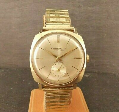 Gents Vintage Winegartens Watch. Solid 9ct Gold Case. FHF70 Movt. 1964