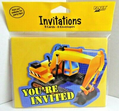 Under Construction 8 Party Invitations Digger Tractor Childs Birthday Party NEW
