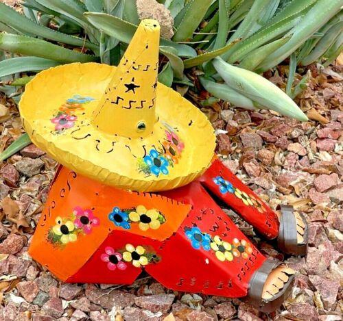 "Mexican Folk Art Metal Yard Sleeping Sombrero Man Pancho Campesino Figure 14"""