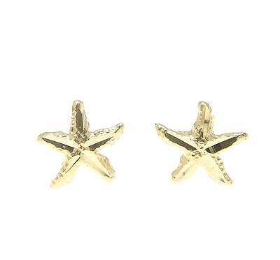 SOLID 14K YELLOW GOLD HAWAIIAN DIAMOND CUT SEA STAR STARFISH EARRINGS SMALL 7MM (Diamond Cut Star Earrings)