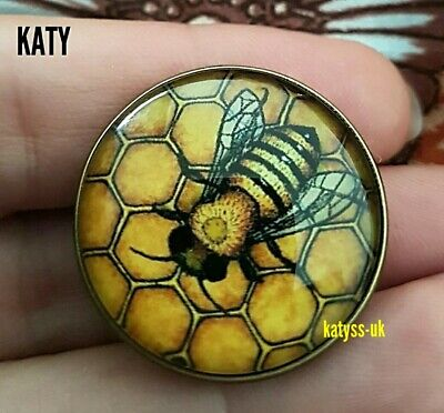 Vintage Style Black Yellow Bumble Bee Honeycomb Small Brooch Glass Pin Lapel