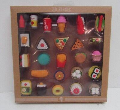Food Themed 3D Eraser 25ct Set - 3d Erasers
