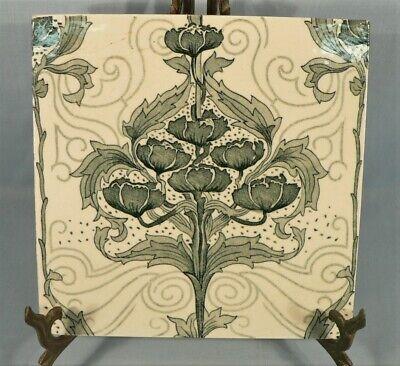 Antique MINTON CERAMIC TILE Floral Art Nouveau Design Made in England