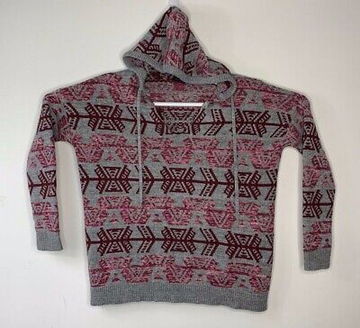 American Eagle Womens Grey Hooded Red & Pink Pattern Knit Sweater Jacket Small