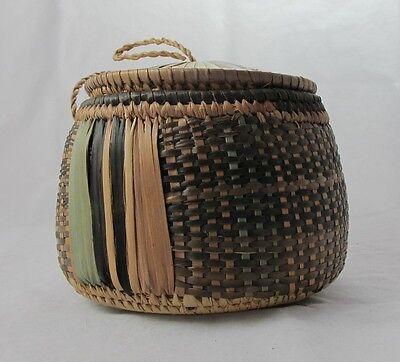 Vintage West African Basket with Lid Hausa Tuareg Niger Sahara 1960s