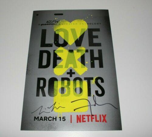 DAVID FINCHER TIM MILLER DUAL SIGNED LOVE DEATH + ROBOTS 11x17 SHOW POSTER w/COA