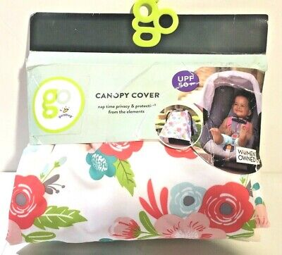 GO by Goldbug Floral Baby Canopy Car Seat Cover UPF 50+ Breathable NEW DISTRESSE