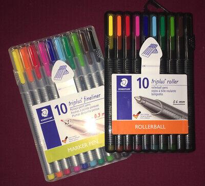 New Staedtler Triplus Fineliner Marker Pens 10 Colors Storage Case Easel