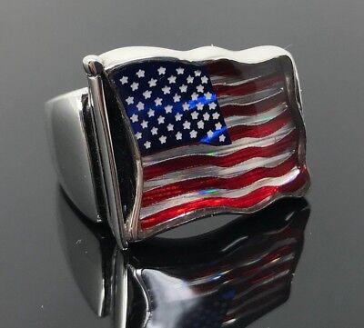 925K Sterling Silver Enameled American Flag Men Ring Special Edition K61Q 925 Sterling Silver American Flag