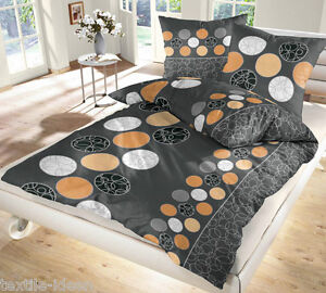 biber bettw sche 155x220 cm kreise schwarz orange ebay. Black Bedroom Furniture Sets. Home Design Ideas