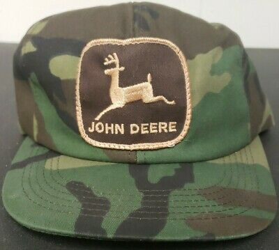 Vtg 80's John Deere K-Products Camouflage Snapback Trucker Hat, Patch, Cap, USA