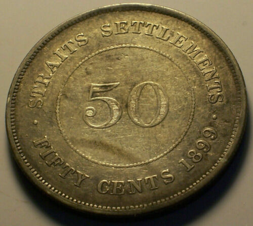 Straits Settlements, 1899 Victoria Fifty Cents, 50 Cents. 136,000 Mintage.