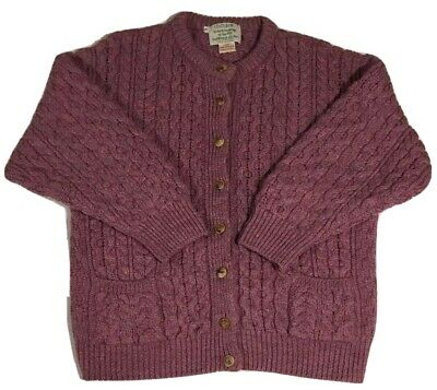 Cladyknit Irish Heritage S 100% Wool Heavy Button Vintage Pocket Sweater