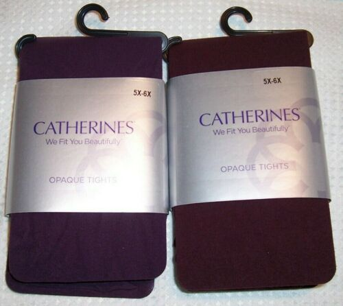 Catherines Plus 3X/4X OR 5X/6X Plum OR Sonoma Red Opaque Non Control Top Tights