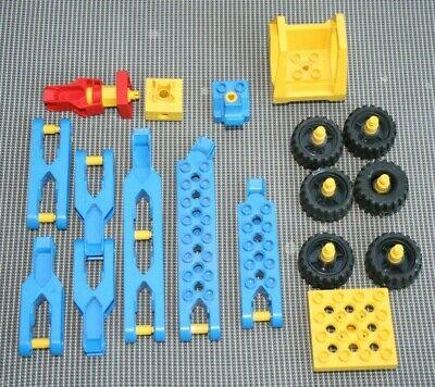 Lego Duplo Toolo VEHICULE CHANTIER CONSTRUCTION GRUE ROUES DIVERS VINTAGE V2